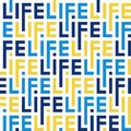 Color pattern of letters of the word life