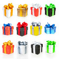 Color gift boxes collection with ribbons Royalty Free Stock Images