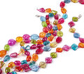 Color glass beads assorted on white Royalty Free Stock Images