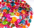 Color glass beads assorted on white Stock Image