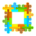 Color glossy brilliant jazzy puzzle frame 4 x 4 Stock Photography