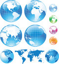 Color glossy globes and map Royalty Free Stock Photos