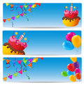 Color Glossy Happy Birthday Balloons and Cake Banner Background Royalty Free Stock Photo