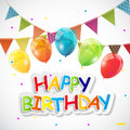 Color Glossy Happy Birthday Balloons, Flags Banner Background Ve