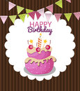 Color Glossy Happy Birthday Flags and Cake Banner Background Vec