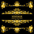 Color Gold Vintage Decorations Elements. Flourishes Calligraphic Ornaments and Frames. Retro Style Royalty Free Stock Photo