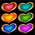 Color golden hearts Royalty Free Stock Photography