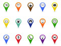 Color GPS and Navigation pointer icons set Royalty Free Stock Photo