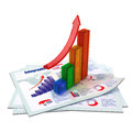 Color growing bar chart Stock Photo