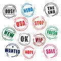 Color grunge stamps busy ok stop wanted set of Royalty Free Stock Photos