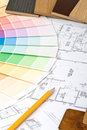 Color guide, material samples and blueprint Royalty Free Stock Photography