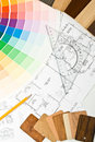 Color guide, material samples and blueprint Royalty Free Stock Photos