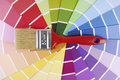 Color guide sampler and paintbrush Royalty Free Stock Photo
