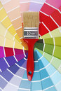 Color guide sampler and paintbrush Royalty Free Stock Photography