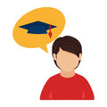 Color half body man and bubble speech with graduation hat