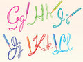 Color hand drawing letters for your design, ghijkl Stock Photos