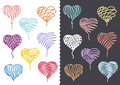 Color Hand Drawn Hearts Set Stock Image