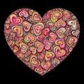 Color Heart Mosaic On Black Ba...