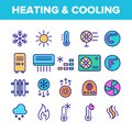 Color Heating And Cooling System Vector Linear Icons Set