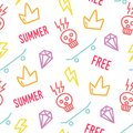 Color hipster pattern with old school tattoo elements in doodle style. Ornament for textile and wrapping. Vector summer background Royalty Free Stock Photo