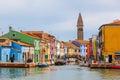 Color houses on burano island near venice italy Stock Photos