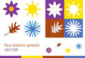 Color illustration of four seasons symbols spring flower summer sun autumn leaf winter snowflake Royalty Free Stock Photo