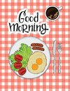 Color illustration of omelet with sausages, tomato and coffee. Poster for a cafe or restaurant with a healthy food and the