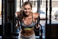 Color  image of an athletic woman in a gym working out Royalty Free Stock Photo