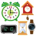 Color images of watches on white background. Alarm clock, hourglass, wall clock with cuckoo, electronic timepiece, wristwatch. Royalty Free Stock Photo