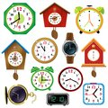 Color images of watches on white background. Alarm clock,  wall clock with cuckoo, electronic timepiece, wristwatch. Vector Royalty Free Stock Photo