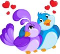 Color kawaii illustration of a bird couple, hugging, with hearts over heads, for children`s book or Valentine`s Day card