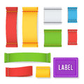 Color Label Fabric Blank Vector. Realistic Set Bright Blank Fabric Labels Or Badges With Stitching. Royalty Free Stock Photo