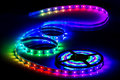 Color led strip led tape for decoration of interiors and buildings Stock Photography