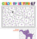 Color by letter. Puzzle for children. Elephant