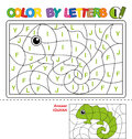 Color by letter. Puzzle for children. Iguana