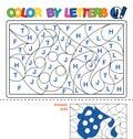 Color by letter. Puzzle for children. Jug