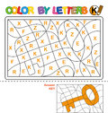Color by letter. Puzzle for children. Key