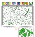 Color by letter. Puzzle for children. Leaf