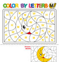 Color by letter. Puzzle for children. Moon