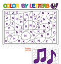 Color by letter. Puzzle for children. Notes