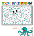 Color by letter. Puzzle for children. Octopus