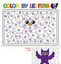 Color by letter. Puzzle for children. Owl