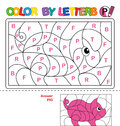 Color by letter. Puzzle for children. Pig