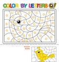 Color by letter. Puzzle for children. Quail