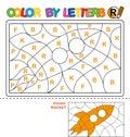 Color by letter. Puzzle for children. Rocket
