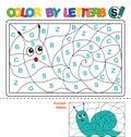 Color by letter. Puzzle for children. Snail