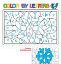 Color by letter. Puzzle for children. Snowflake