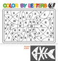 Color by letter. Puzzle for children. X-ray