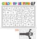 Color by letter. Puzzle for children. Zipper