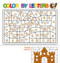 Color by letters. Learning the capital letters of the alphabet. Puzzle for children. Letter C. Castle. Preschool Education. Royalty Free Stock Photo